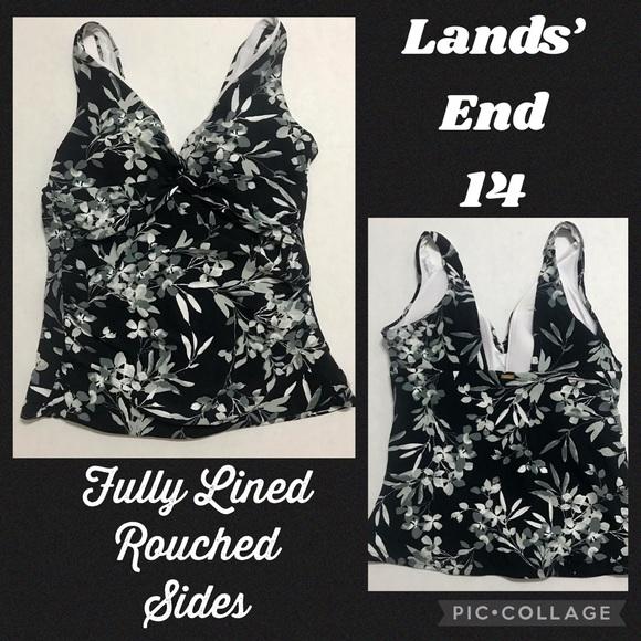 Lands End 14 black gray white floral tankini top